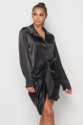 DateNight Black Satin Dress