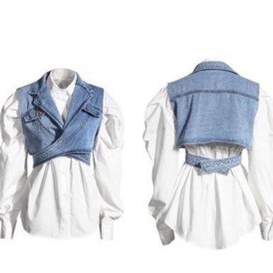 White Top with Denim Vest