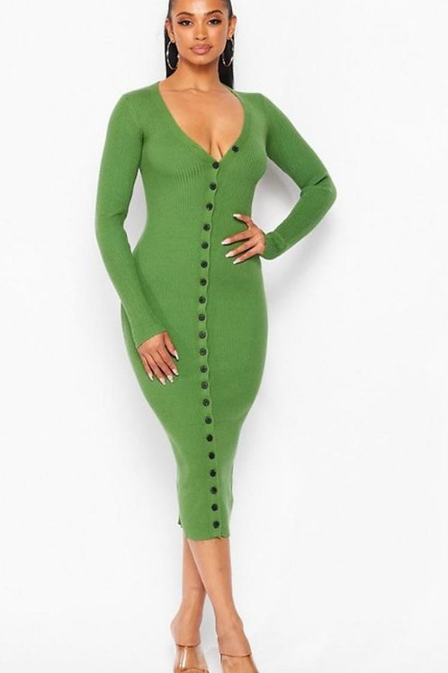 For You Midi Green Dress