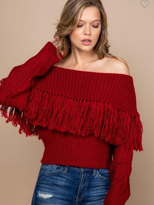 Fringe Me Off The Shoulder Sweater