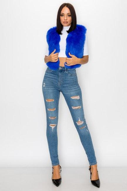 Blue Faux Fur Vest