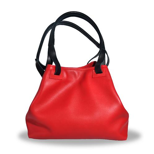 Grand sac à main en cuir rouge
