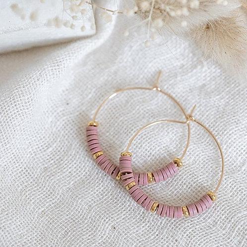 Boucles d'oreilles Eglantine perles Heishi