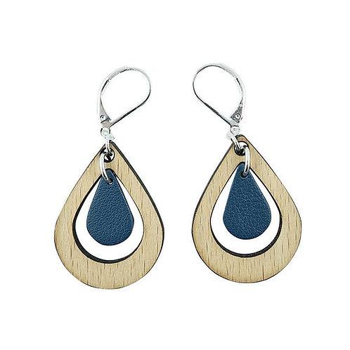 Boucles d'oreilles en bois eco-responsable et cuir recyclé bleu marine