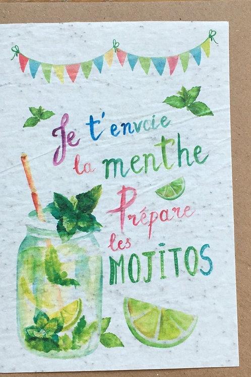"""Carte à planter """"je t'envoie la menthe prépare les mojitos"""""""