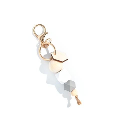 Porte-clés mousqueton et perles de bois