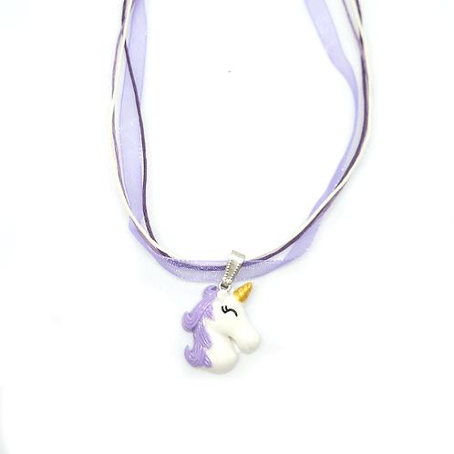 Collier rubans licorne violet et blanc