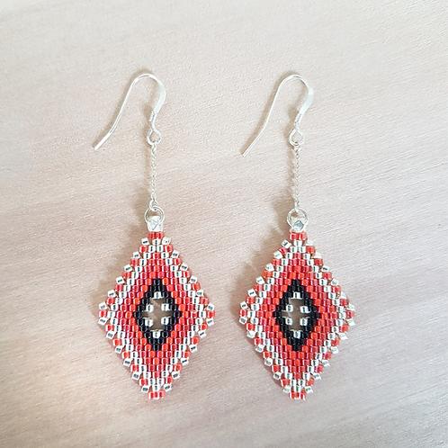 Boucles d'oreilles perles Miyuki tissées Lina rouge