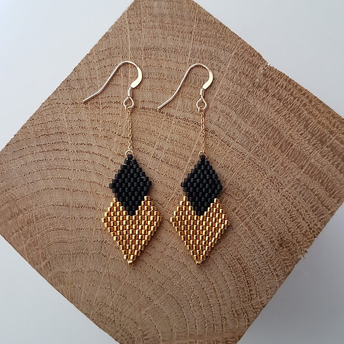 Boucles d'oreilles PENELOPE en perles Miyuki tissées - noir