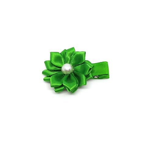 barrette fleur vert et perle blanche