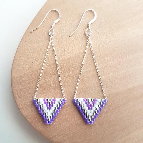 Boucles d'oreilles perles Miyuki tissées Alexandra violet