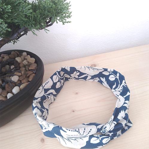 Headband tissus marine fleurs blanches
