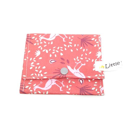 Pochette à savon coton bio enduit - rose oiseaux