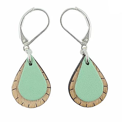 Boucles d'oreilles gouttes en bois eco-responsable et cuir recyclé turquoise
