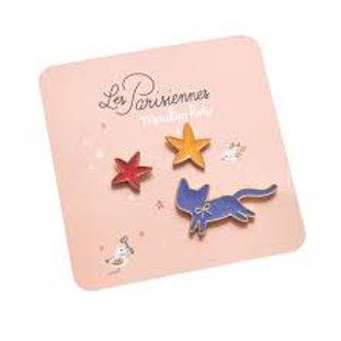 Set de 3 pin's Les parisiennes chat/étoiles