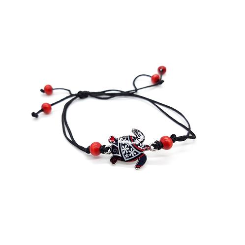 Bracelet enfant réglable tortue noir