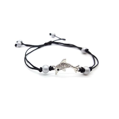 Bracelet réglable enfant dauphin argenté noir
