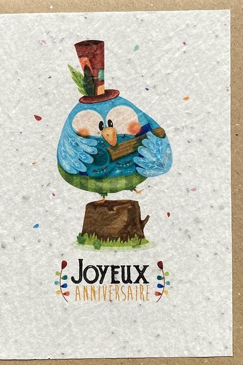 """Carte à planter """"joyeux anniversaire oiseau"""""""