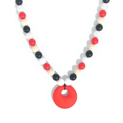 Collier de portage et d'allaitement silicone alimentaire rouge et noir