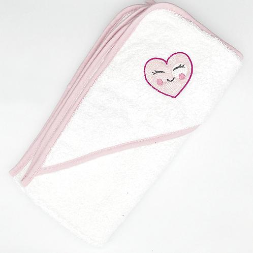 Cape de bain brodée petit coeur rose