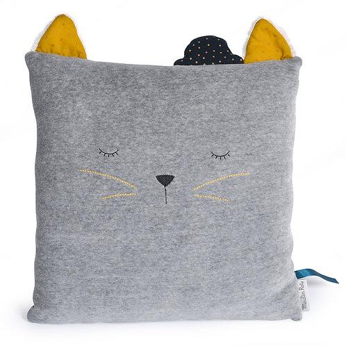 Coussin carré chat gris