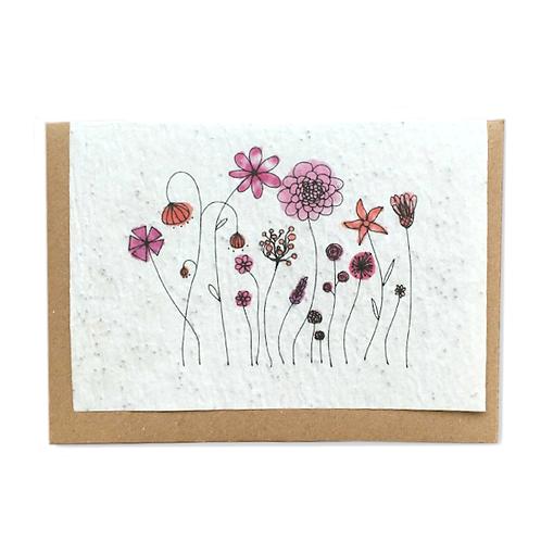 """Carte à planter """"champs de fleurs roses"""""""""""