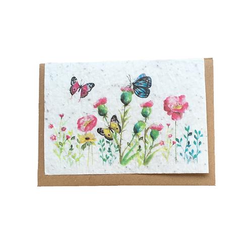 """Carte à planter """"champs de fleurs et papillons"""""""