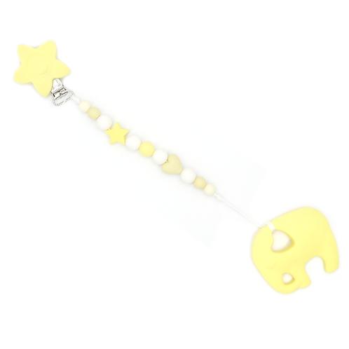 Attache hochet en silicone alimentaire éléphant jaune