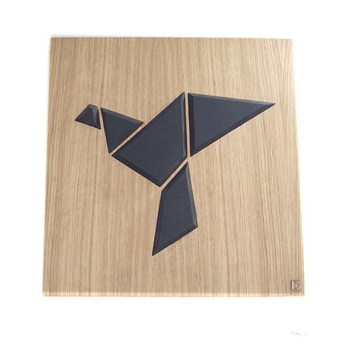 Tableau bois oiseau origami