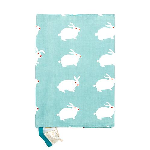 Protège carnet de santé coton fin Lapins blancs