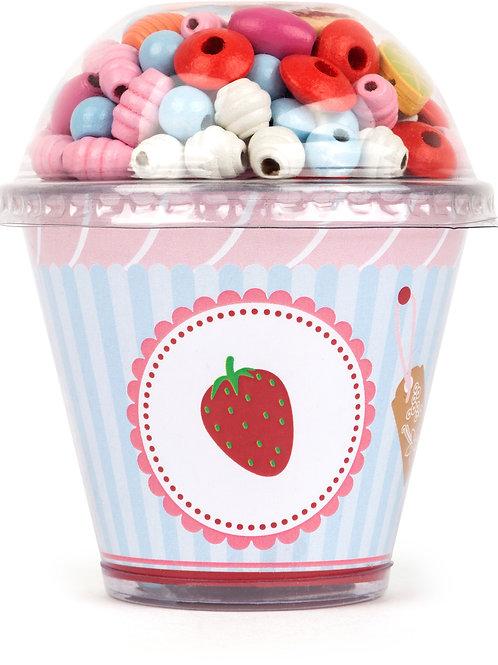Cupcake fraise de perles en bois à enfiler