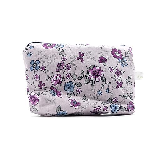Grand porte-monnaie/mini pochette parme fleurie