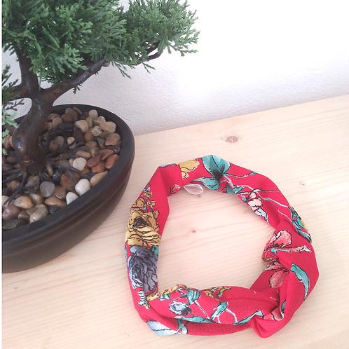 Headband tissus rouge fleuris