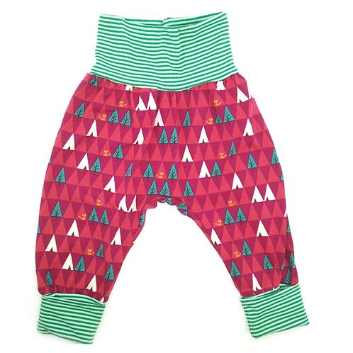 Pantalon évolutif fushia arbres triangles