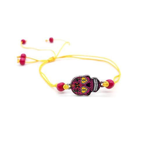 Bracelet enfant réglable calavera rose jaune