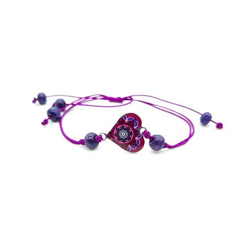 Bracelet réglable enfant cœur violet