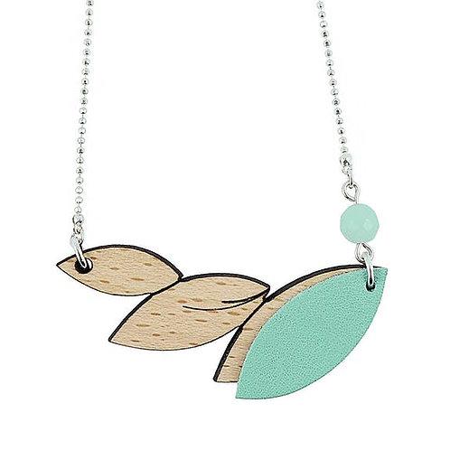 Collier feuilles bois et cuir turquoise