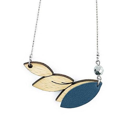 Collier feuilles bois et cuir bleu marine