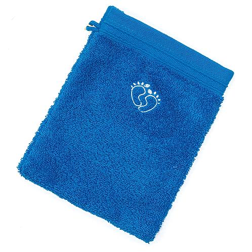 Grand gant de toilette bleu brodé petits pieds de bébé