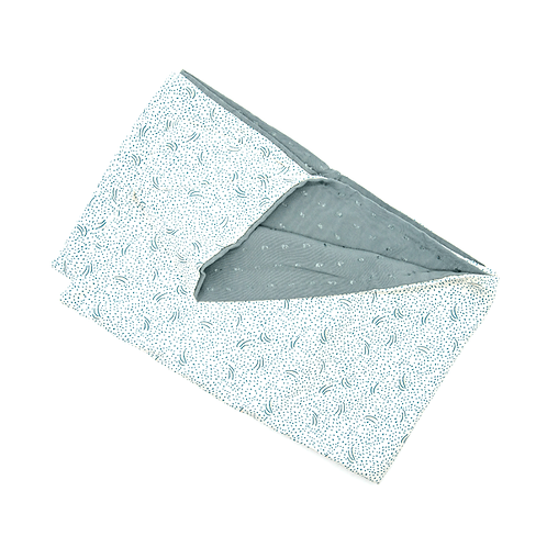 Snood réversible blanc feuillage bleu ciel