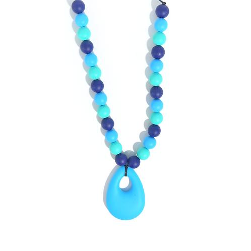 Collier de portage et d'allaitement silicone alimentaire bleu turquoise