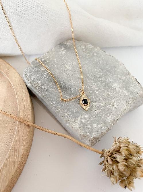 Collier médaillon losange et onyx noir