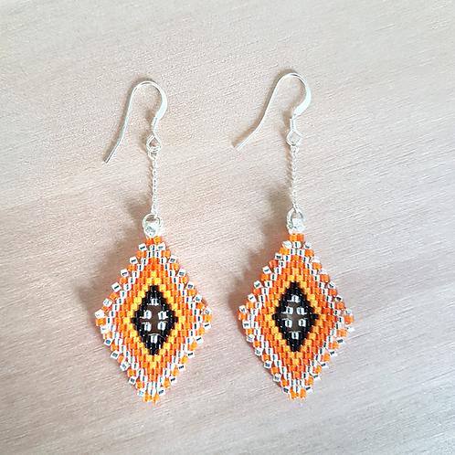 Boucles d'oreilles perles Miyuki tissées Lina orange