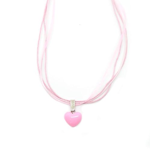 Collier rubans cœur rose