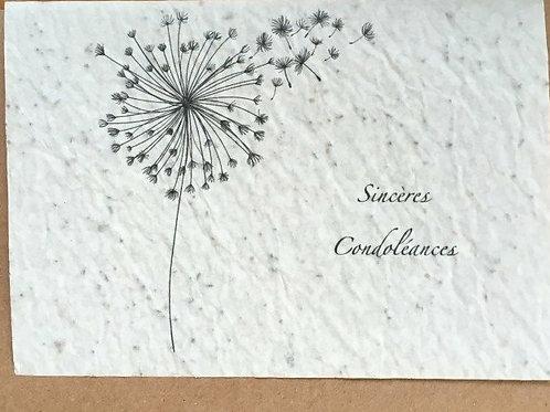"""Carte à planter """"sincères condoléances"""""""