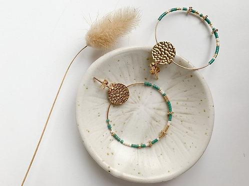 Boucles d'oreilles Léandre perles Miyuki du Japon vert/blanc/doré