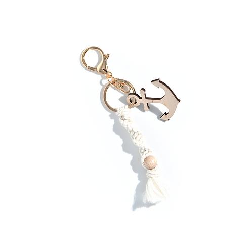 Porte-clés mousqueton et macramé ancre marine