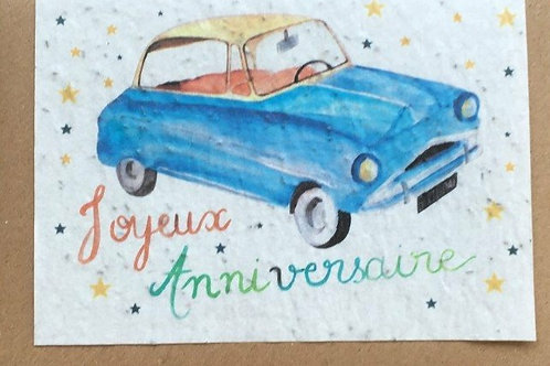"""Carte à planter """"joyeux anniversaire voiture"""""""