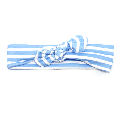Bandeau pour enfant bleu rayé blanc