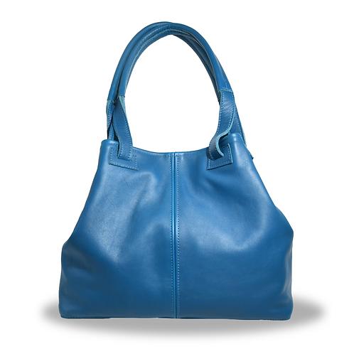 Grand sac à main en cuir bleu pétrole